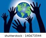 illustration of hands reaching...   Shutterstock . vector #140673544