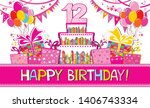 happy birthday card.... | Shutterstock .eps vector #1406743334
