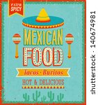 vintage mexican food poster.... | Shutterstock .eps vector #140674981