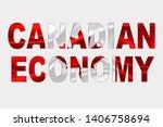 canadian economy words over... | Shutterstock . vector #1406758694