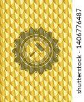 roller brush icon inside golden ... | Shutterstock .eps vector #1406776487