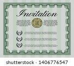 green retro invitation. complex ... | Shutterstock .eps vector #1406776547