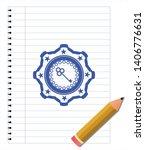 key icon blue ink pen emblem.... | Shutterstock .eps vector #1406776631