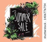 frame floral theme for summer... | Shutterstock .eps vector #1406776754