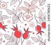 seamless pattern of rose hip... | Shutterstock .eps vector #1406780621