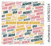 modern bedroom interior word... | Shutterstock .eps vector #1406782214