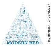 modern bed word cloud.... | Shutterstock .eps vector #1406782217