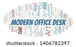 modern office desk word cloud.... | Shutterstock .eps vector #1406782397