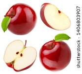 set of red apple whole pieces... | Shutterstock . vector #1406803907