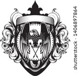 coat of arms shield acanthus... | Shutterstock .eps vector #1406897864