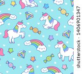 cute unicorn  rainbow and... | Shutterstock .eps vector #1406901347