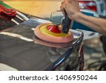 hands polishing car with rotary ... | Shutterstock . vector #1406950244
