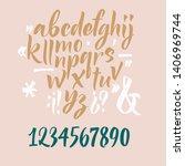 handwritten font. script. latin ... | Shutterstock .eps vector #1406969744