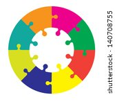 eight piece jigsaw wheel in... | Shutterstock .eps vector #140708755