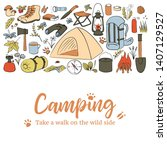 camping card template. take a... | Shutterstock .eps vector #1407129527