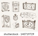 clock. set of vector sketches | Shutterstock .eps vector #140719729