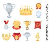 awards and trophies cartoon... | Shutterstock . vector #1407199247
