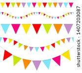 set of five seamless buntings... | Shutterstock .eps vector #1407203087