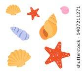 Set Of Sea Shells And Starfish...