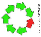 One red arrow in a loop of green arrows - stock photo