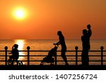 family silhouette on the... | Shutterstock . vector #1407256724