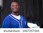 Small photo of Napa, CA/USA: 5/24/19: Ken Griffey Jr. speaks at BottleRock. A former professional baseball outfielder who played 22 years in Major League Baseball (MLB) for the Mariners, Reds, White Sox.