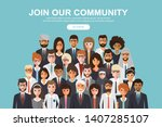 join our community. crowd of... | Shutterstock .eps vector #1407285107