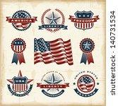 vintage american labels set | Shutterstock . vector #140731534