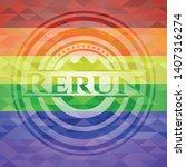 rerun emblem on mosaic...   Shutterstock .eps vector #1407316274