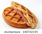 Freshly Baked Waffles On A...