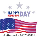 happy memorial day card with...   Shutterstock .eps vector #1407341801