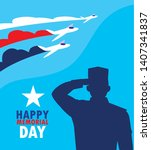 happy memorial day card with... | Shutterstock .eps vector #1407341837