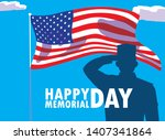 happy memorial day card with... | Shutterstock .eps vector #1407341864