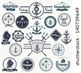 set of vintage retro nautical... | Shutterstock .eps vector #140739649