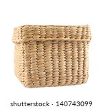 Box shaped wicker basket with a cover cap isolated over white background - stock photo