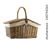 Picnic basket hamper isolated over white background - stock photo