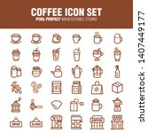 coffee icon set  a set of... | Shutterstock .eps vector #1407449177