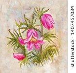 field watercolor bouquet.... | Shutterstock . vector #1407457034