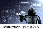 hacker  man in black hood. hud...