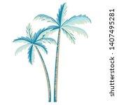 vector palm tree illustration... | Shutterstock .eps vector #1407495281
