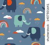 happy elephants  clouds ...   Shutterstock .eps vector #1407501641