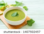 spinach soup bowl   healthy... | Shutterstock . vector #1407502457