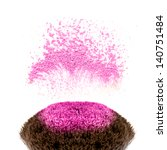makeup brushes and powder in... | Shutterstock . vector #140751484
