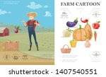 cartoon farming colorful... | Shutterstock .eps vector #1407540551