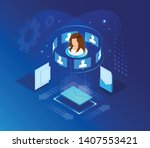 global online email marketing.... | Shutterstock .eps vector #1407553421