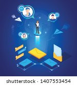 global online email marketing.... | Shutterstock .eps vector #1407553454