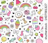 cute hand drawn unicorn ... | Shutterstock .eps vector #1407581327