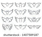 cartoon sketch wing. hand drawn ...   Shutterstock .eps vector #1407589187