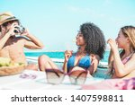 happy friends having fun taking ... | Shutterstock . vector #1407598811