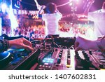 dj mixing outdoor at beach... | Shutterstock . vector #1407602831